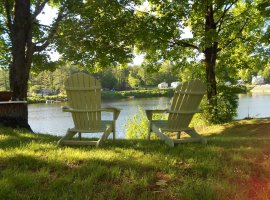 Enjoy your morning coffee sitting in your Adirondack chair