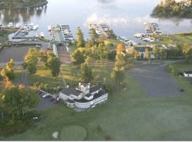 Aerial view of 1000 Islands Mansion
